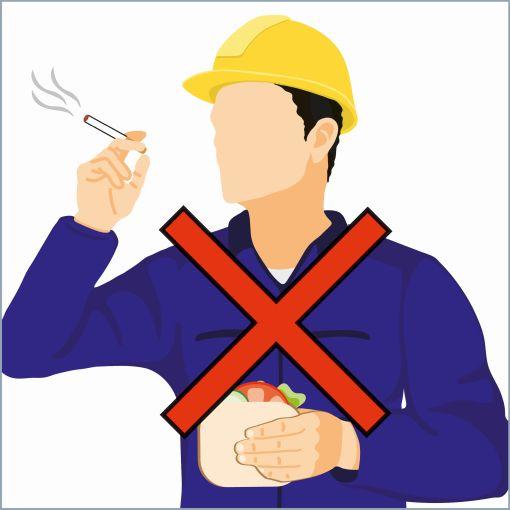 """Informationsgrafik sicherer Umgang mit Blei """"nicht essen und nicht rauchen"""""""