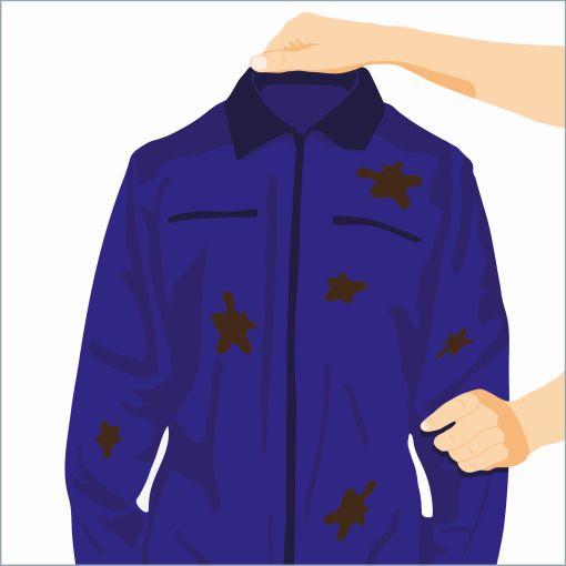"Informationsgrafik sicherer Umgang mit Blei ""Arbeitskleidung sorgfältig behandeln"""