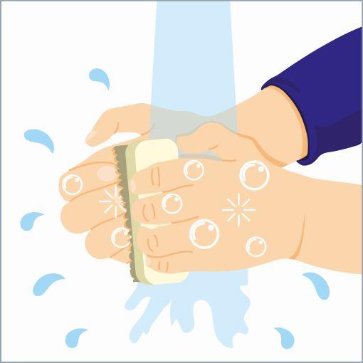"""Informationsgrafik sicherer Umgang mit Blei """"Hände waschen"""""""